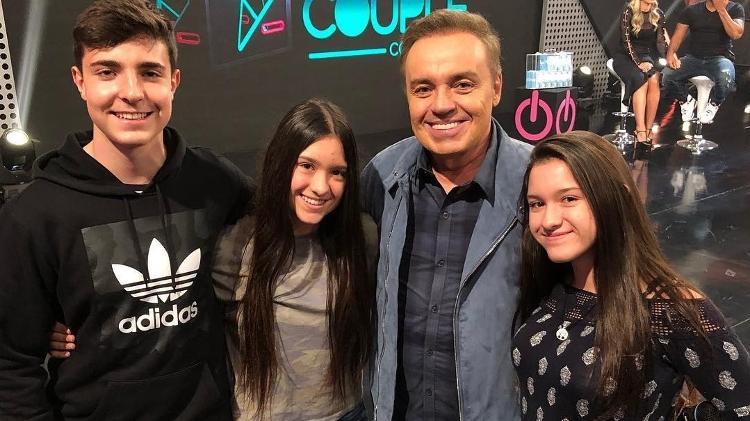 Gugu com os filhos, João Augusto, Marina e Sofia Liberato